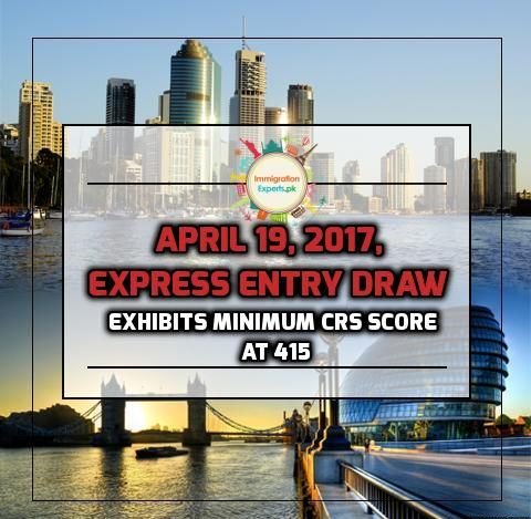 April 19, 2017, Express Entry Draw Exhibits Minimum CRS Score at 415