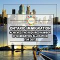 Ontario has achieved the Required Number of Nomination Allocation for 2017
