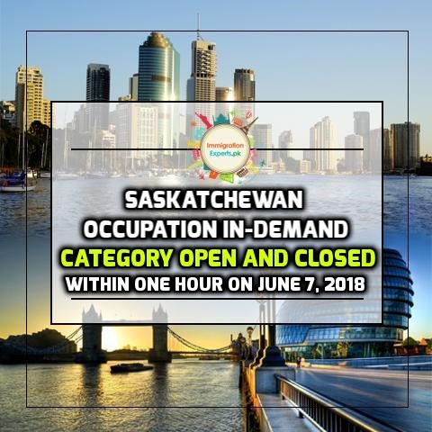 Saskatchewan Occupation In-Demand Category Open and Closed Within One Hour on June 7, 2018
